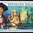 REPUBLICA MALAGASY - CIRCA 1976: A stamp printed in Madagascar shows John Paul Jones and ships Bondhomme Richard and HMS Serapes, circa 1976 — Stock Photo