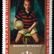 """BULGARIA - CIRCA 1971: A stamp printed in Bulgaria shows a painting by the artist Kirill Tsonev """"Small football-player"""", one stamp from series, circa 1971 — Stock Photo"""