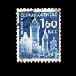 CZECHOSLOVAKIA - CIRCA 1950s: A stamp printed in Czechoslovakia shows view of Kokorin, circa 1950s — Stock Photo