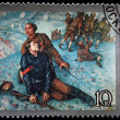 Stock Photo: USSR- CIRC1988: stamp printed in USSR shows draw by artist KuzmPetrov-Vodkin - Death of Comissar, circ1988