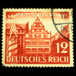 Stock Photo: GERMANY - CIRC1941: stamp printed by Germany (Deutsche reigh) in memory of National exhibition and shows view of Leipzig circ1941