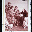BURUNDI - CIRCA 1970: A stamp printed in Republique du Burundi shows Lenin in the Kremlin talking with three farmers, circa 1970 — Stock Photo #12168090