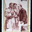 BURUNDI - CIRCA 1970: A stamp printed in Republique du Burundi shows Lenin speaking with a soldier and a sailor, circa 1970 - Stock Photo
