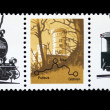 DDR - CIRCA 1981: A stamp printed in DDR (East Germany) shows steam locomotive, circa 1981 - Stok fotoğraf