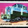 DPR KOREA - CIRCA 1976: A stamp printed by DPR KOREA (North Korea) shows locomotive, circa 1976 - 图库照片