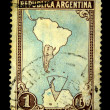 ARGENTINA - CIRCA 1950s: A stamp printed in Argentina shows the contours of the country on the map, circa 1950s — Stock Photo