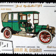 UMM AL QIWAIN - CIRCA 1968: A stamp printed in one of the emirates in the United Arab Emirates shows vintage car Marchand Limousine - 1905 year, full series - 48 of stamps, circa 1968 - 图库照片