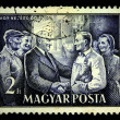 HUNGARY - CIRCA 1950s: A Stamp printed in Hungary shows Matyas Rakosi meeting with workers of steel plant, circa 1950s — Stock Photo