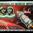Stock Photo: MONGOLI- CIRC1982: stamp printed in Mongolishows members of crew Soyuz T-6 Patrick Baudry first french Cosmonaut and commander Vladimir Dzhanibekov, circ1982