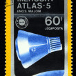 HUNGARY - CIRCA 1975: A stamp printed in Hungary shows Mercury Atlas-5 and Apollo-Soyuz Emblem with the same inscription, from the series &amp;quot;Apollo-Soyuz Space Link&amp;quot;, circa 1975 - Stock Photo