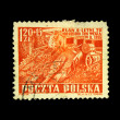 POLAND - CIRCA 1955: A stamp printed in Poland shows image celebrating the Polish 6 Year Plan (1950-55), series, circa 1955 - Stock Photo