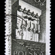 POLAND - CIRCA 1965: A stamp printed in Poland shows monument tortured by the Nazis in Plaszow, circa 1965 — Stock Photo