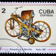 CUBA - CIRCA 1985: A Stamp printed in CUBA shows image of a vintage motorcycle, Daimler - 1885, circa 1985 - Stockfoto