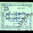 Stock Photo: DDR - CIRC1950s: stamp printed in DDR (East Germany) shows musical notation made by Mendelssohn, circ1950s