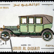 UMM QIWAIN- CIRCA 1968: A stamp printed in one of the emirates in the United Arab Emirates shows vintage car Napier - 1912 year,full series - 48 of stamps, circa 1968 — Stock Photo
