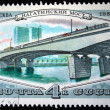 USSR - CIRCA 1980: A stamp printed in USSR shows the Nagatinski Bridge, Moscow, series, circa 1980 — Stock Photo