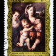 "CUBA - CIRCA 1986: A Stamp printed in CUBA shows the ""Virgin and Child"", by Niccolo Abbate, from the series ""Paintings in the Natl. Museum"", circa 1986 — Stock Photo"