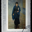 "USSR - CIRCA 1971: A stamp printed in the USSR shows a painting by the artist Nikolai Yaroshenko ""Girl-studen"", one stamp from series, circa 1971 — 图库照片"