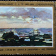 "USSR- CIRCA 1981: A stamp printed in the USSR shows draw by artist Nikolai Ge - ""Sunset on the Sea in Livorno"", circa 1981 — Stock Photo"