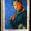 "USSR- CIRCA 1972: A stamp printed in the USSR shows draw by artist Nikolay Kasatkin - ""Pioneer with Books"", circa 1972 — Stock Photo"