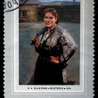 "USSR - CIRCA 1971: A stamp printed in the USSR shows a painting by the artist Nikolay Kasatkin ""Woman-miner"", one stamp from series, circa 1971 — Stock Photo #12168523"