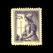 CZECHOSLOVAKIA - CIRCA 1950s: A Stamp printed in Czechoslovakia shows nurse, circa 1950s — Stock Photo