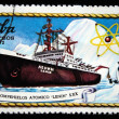 "Stock Photo: CUB- CIRC1972: stamp printed in Cubshows Nuclear ice breaker ""Lenin"", circ1972"