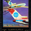 Royalty-Free Stock Photo: AJMAN - CIRCA 1972: A stamp printed in emirate Ajman of the United Arab Emirates shows airplane Boeing 727 of aviation company Panam, series, circa 1972