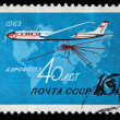 USSR - CIRCA 1963: A stamp printed in the USSR shows passenger airplane, series honoring 40 years of Aeroflot, circa 1963 — Stock Photo