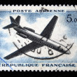 FRANCE - CIRCA 1965: a stamp printed by France show the passenger airplane Caravelle, series, circa 1965 - 图库照片