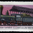 USSR - CIRCA 1978: A stamp printed in USSR shows passenger steam locomotive of type 2-2-0 series Bv, stamp from series, circa 1978 - 图库照片