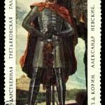 Постер, плакат: USSR CIRCA 1967: A stamp printed in the USSR shows draw by Pavel Korin Alexander Nevsky circa 1967