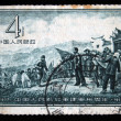 CHINA - CIRCA 1957: A stamp printed in China shows peasants met Mao Tse-Tung, circa 1957 - 图库照片