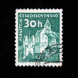 CZECHOSLOVAKIA - CIRCA 1950s: A Stamp printed in Czechoslovakia shows Wiev of Pernstejn, circa 1950s - 图库照片