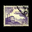 Stock Photo: CHILE - CIRC1950s: stamp printed in Chile shows plane on background of trane, circ1950s