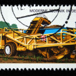 DDR - CIRCA 1975: A stamp printed in DDR (EastGermany) shows potato harvester, circa 1975 — Stock Photo
