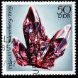 GDR - CIRCA 1985: A stamp printed in GDR (East Germany) shows semiprecious stone Prounstit, circa 1985 - Stock Photo