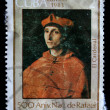 CUBA - CIRCA 1983: A Stamp shows Raphael&amp;#039;s painting &amp;quot;Portrait of a Cardinal&amp;quot;, circa 1983 - Stock Photo