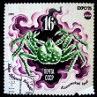 USSR - CIRCA 1975: A stamp printed in the USSR shows red king crab - Paralithodes camtschaticus, circa 1975 — Stock Photo