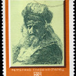 "BULGARI- CIRC1970s: stamp printed in bulgarishows Engraving of artist Rembrandt ""Old mhead"", circ1970s — Stock Photo #12169680"