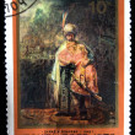 ZSRR-około 1976: znaczek wydrukowany w ZSRR pokazuje wyciągnąć przez artystę rembrandt - Dawid i isnafan, około 1976 — Zdjęcie stockowe #12169681