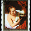 MONGOLI- CIRC1981: stamp printed by Mongolia, shows Hendrickje in Bed, by Rembrandt, circ1981 — Stock Photo #12169687