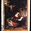 USSR- CIRC1976: stamp printed in USSR shows draw by artist Rembrandt - Holy Family, circ1976 — Stock Photo #12169688