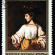 MONGOLI- CIRC1981: stamp printed by Mongolia, shows Hendrickje like Flora, by Rembrandt, circ1981 — Stock Photo #12169690