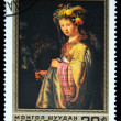 "MONGOLI- CIRC1980: stamp printed in Mongolishows draw of artist Rembrandt ""Flora"", one stamp from series, circ1980 — Stock Photo #12169693"