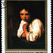 "MONGOLIA - CIRCA 1980: A stamp printed in Mongolia shows draw of artist Rembrandt ""Young girl in the window"", one stamp from series, circa 1980 — Stock Photo"