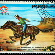 PARAGUAY - CIRCA 1976: A stamp printed in Paraguay shows rider on a galloping horse, circa 1976 — Stock Photo