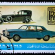 MANAMA (AJMAN) - CIRCA 1970s: A stamp printed in emirate Bahrain of the United Arab Emirates shows Rolls Royce cars, series, circa 1970s — Stock Photo #12169774