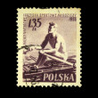 POLAND - CIRCA 1955: A stamp printed in Poland shows Rowing, circa 1955 - Stock Photo