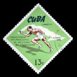 CUBA - CIRCA 1965: A Stamp printed in Cuba shows running races, circa 1965 - 图库照片